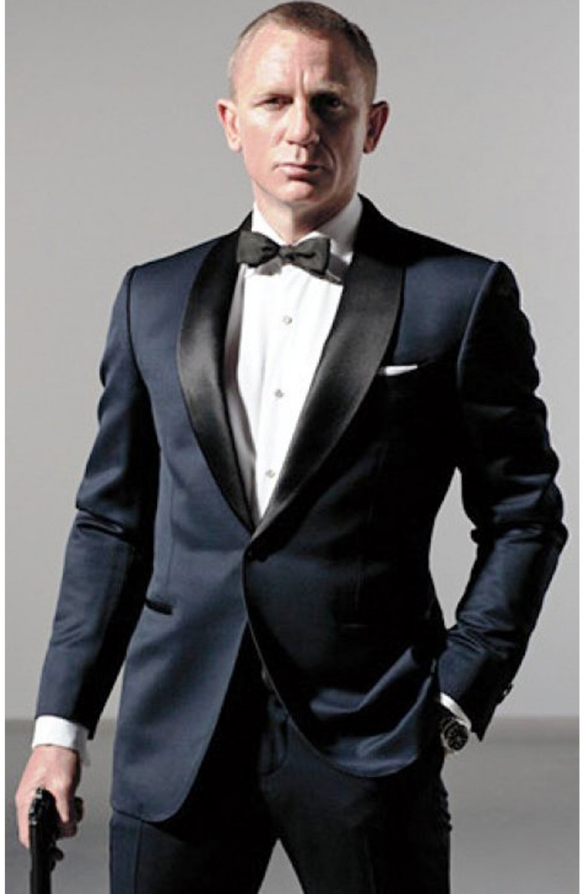 James Bond Midnight Blue Suit - Skyfall Tuxedo Suit - Movies Jacket