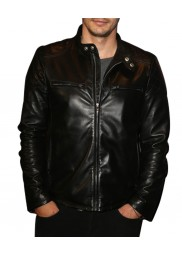 James Franco Black Leather Quilted Jacket