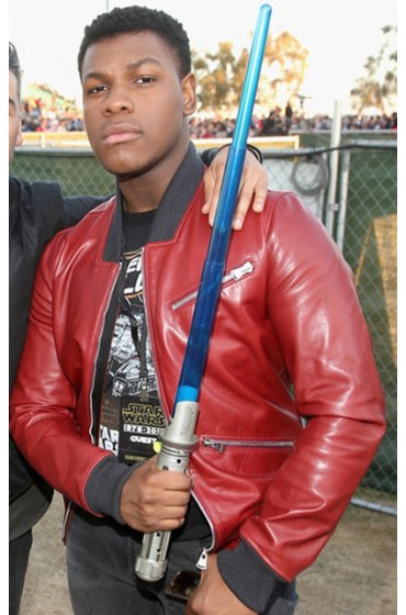 John Boyega Red Leather Jacket