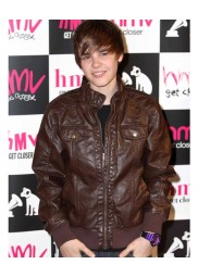 Justin Bieber Brown Leather Bomber Jacket