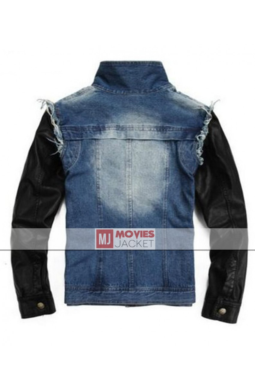 Justin Bieber Jeans Jacket with Black Leather Sleeves - Movies Jacket