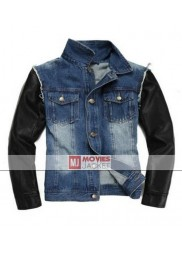 Justin Bieber Jeans Jacket with Black Leather Sleeves