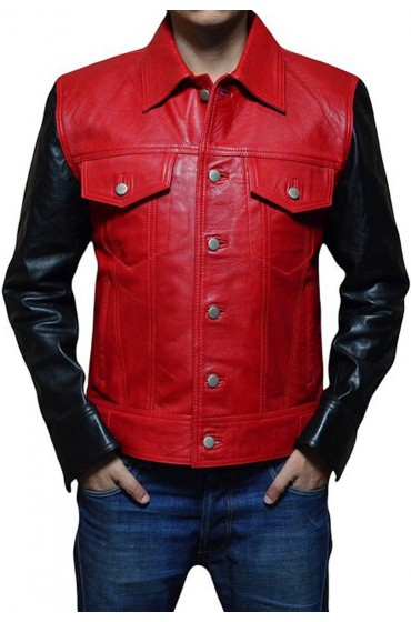 Justin Bieber Red and Black Leather Jacket