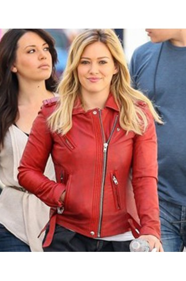Kelsey Younger Hilary Duff Red Leather Biker Jacket for Womens