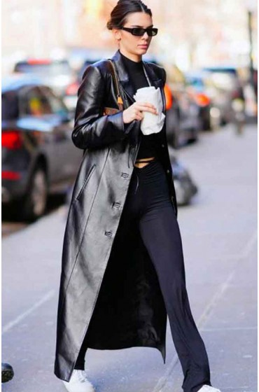 Kendall Jenner Black Leather Coat