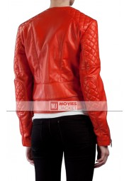 Biker Kristen Stewart Red Leather Jacket