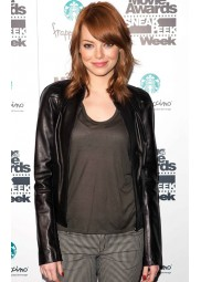 Emma Stone Ladies Black Leather Jacket