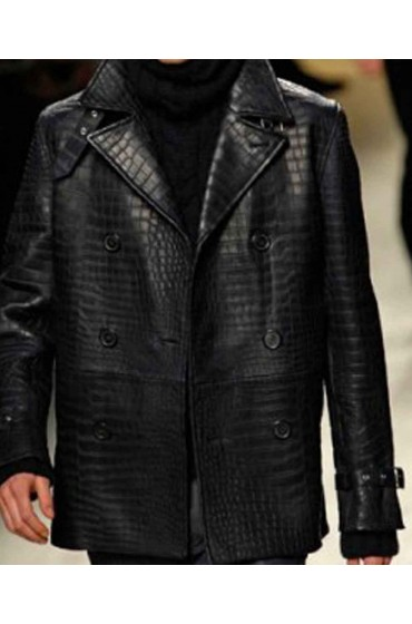 Leather Alligator Black Jacket For Men