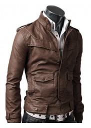 Light Brown Slim Leather Jacket