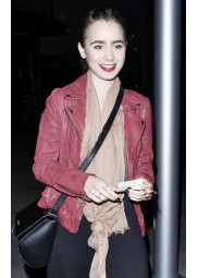 Hits Theater for Late-Night Spider-Man 2 Lily Collins Jacket