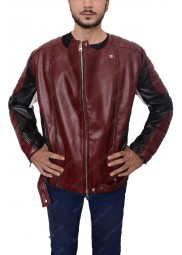 Maroon and Black Motorcycle Jacket