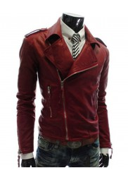 Men's Asymmetrical Zipper Slim Fit Faux Leather Red Jacket