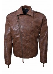 Mens Alligator Brown Leather Jacket For Biker