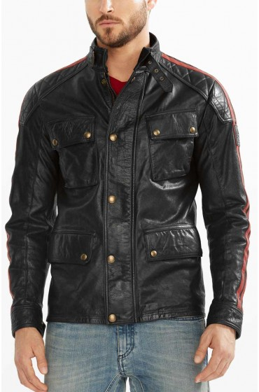 Mens 4 Pocket Moto Belted Collar Jacket