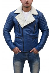 Mens Zipper Asymmetrical Shearling Blue Leather Jacket