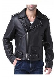 Mens Motorcycle Big and Tall Cow Leather Jacket
