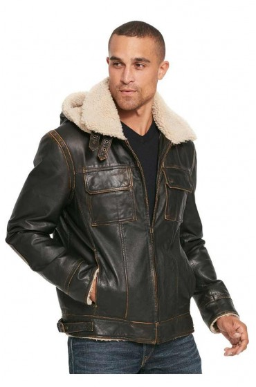 Mens Big & Tall Vintage Bomber Leather Jacket
