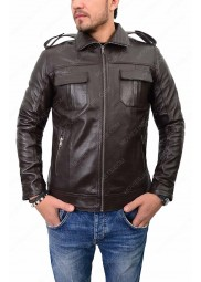 Mens Biker Front Pocket Leather Jacket