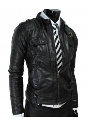 Men's Biker Style Belted Strap Slim Fit Black Leather Jacket