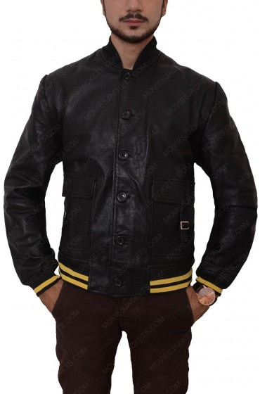 Mens Black Bomber Slim Fit Leather Jacket