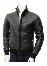 Mens Black Leather Bomber Biker Jacket