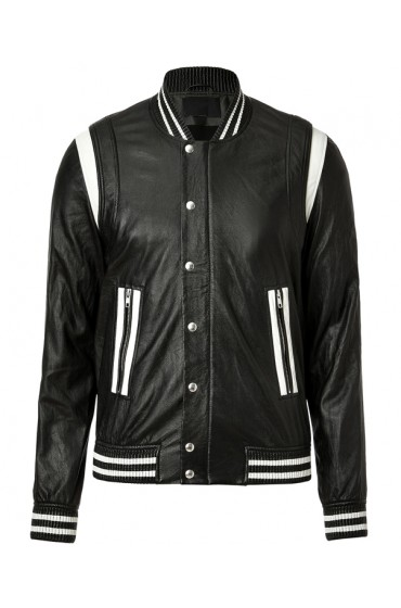 Men's Black Leather Jacket with White Stripes