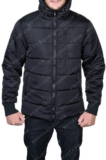 Mens Black Puffer Hooded Jacket