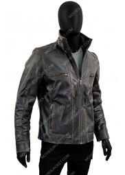 Men's Black Rivet Moto Leather Jacket