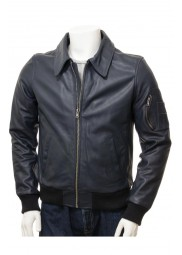 Mens Blue Leather Bomber Jacket
