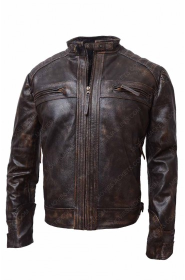 Mens Brown Distressed Biker Leather Jacket