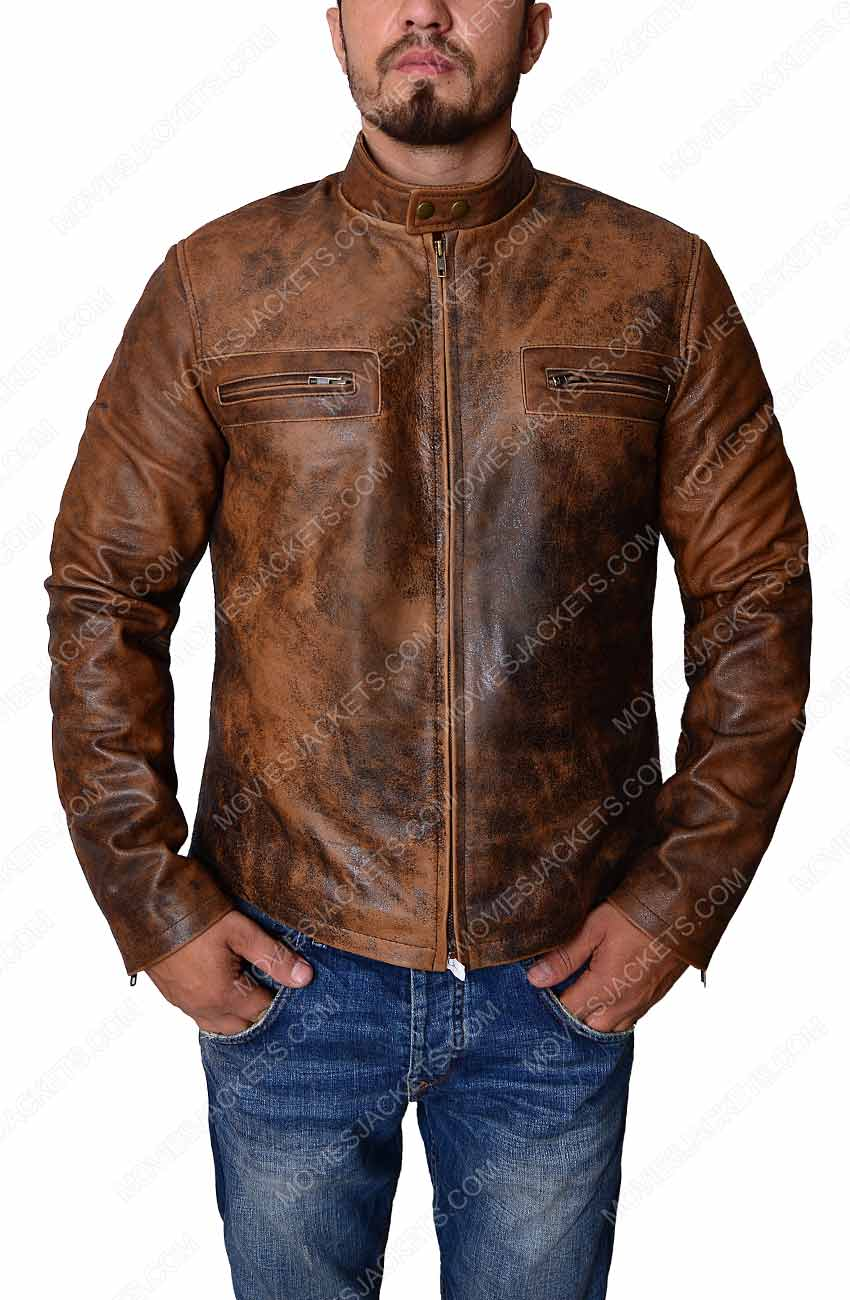 Mens Distressed Leather Jacket Men Brown Biker Jacket