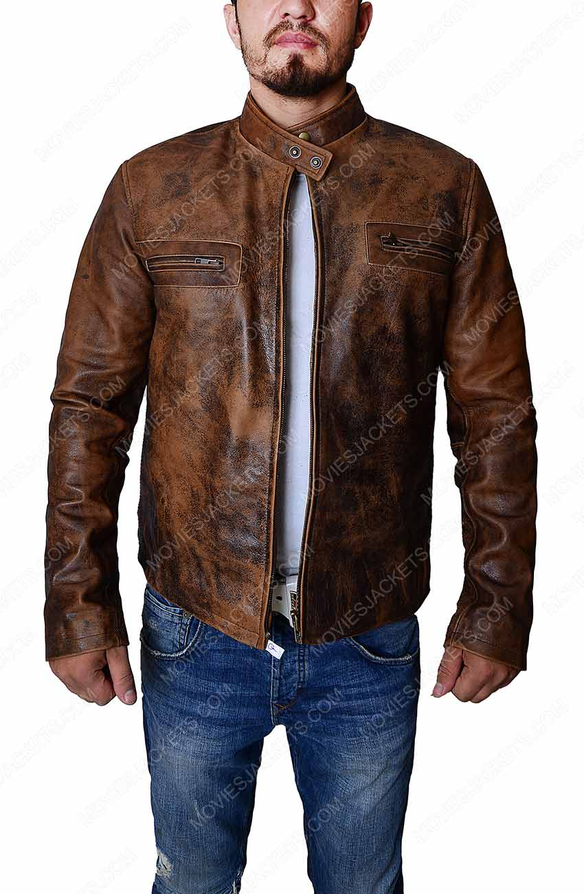 a46c5ac1fb Mens Distressed Leather Jacket - Men Brown Biker Jacket