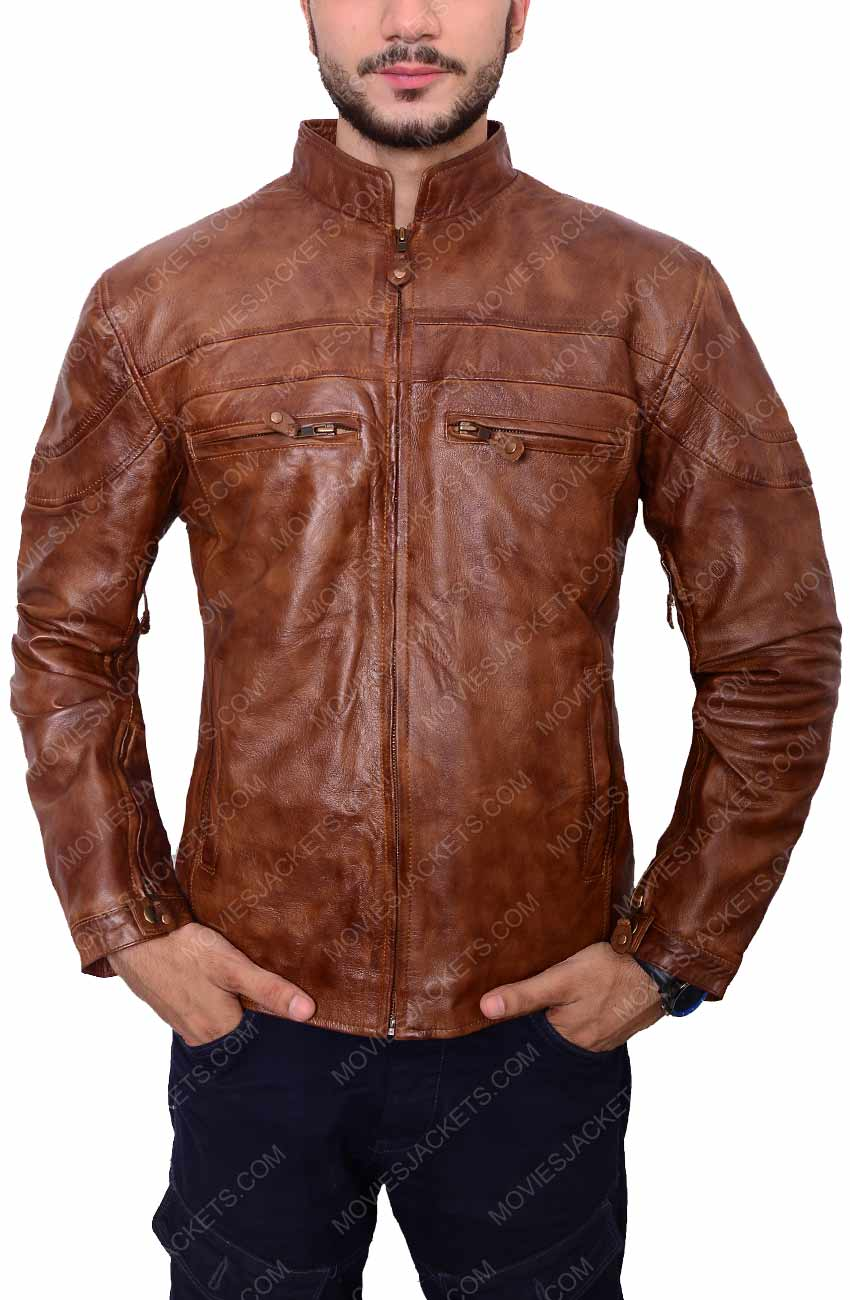 3890f7f8dc6 Mens Brown Biker Leather Jacket for Sale on Movies Jacket