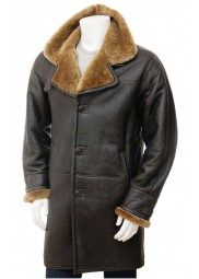 Mens Brown Leather Trench Coat For Mens