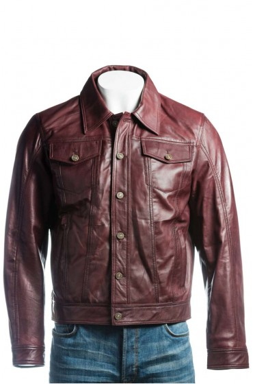 Men's Denim Style Burgundy Leather Jacket