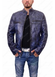 Mens Cafe Racer Blue Waxed Biker Jacket