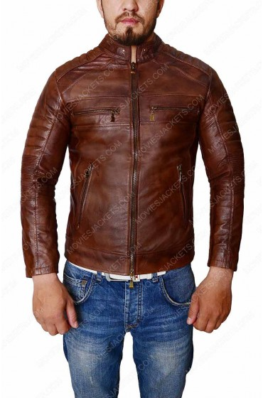 Men's Vintage Motorcycle Rider Cafe Racer Leather Jacket