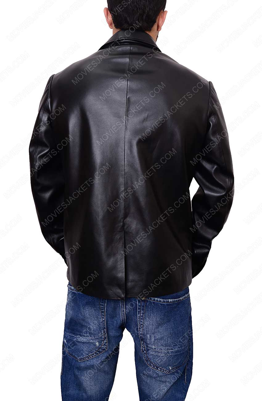 casual black blazer leather jacket for mens
