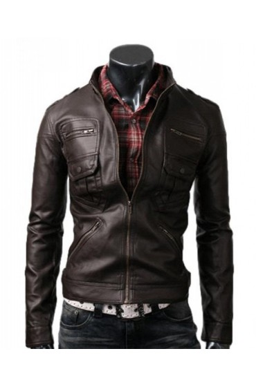 Men's Slim Fitted Dark Brown Leather Jacket