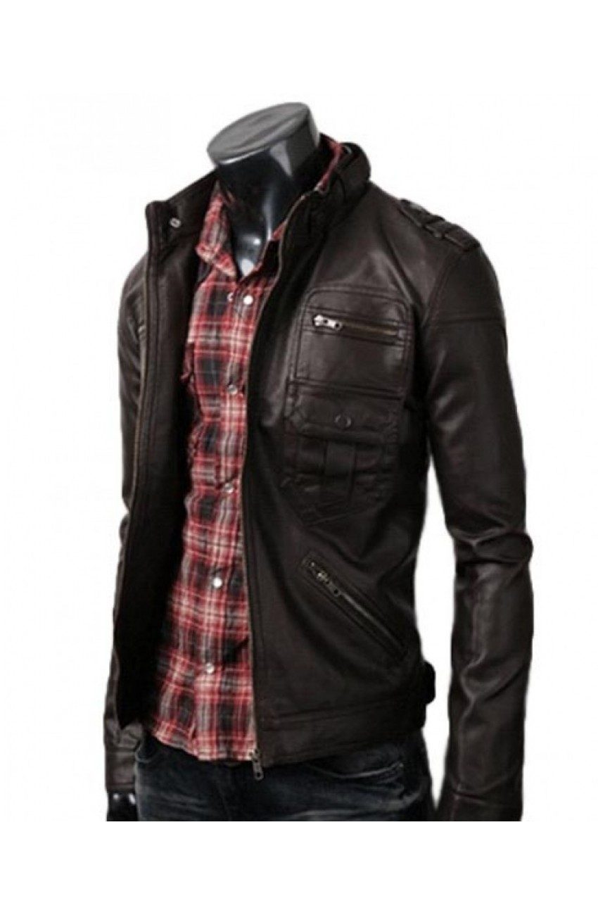 Slim Fitted Dark Brown Leather Jacket
