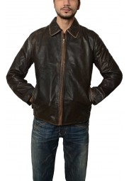 Mens Distressed Brown Flight Leather Jacket
