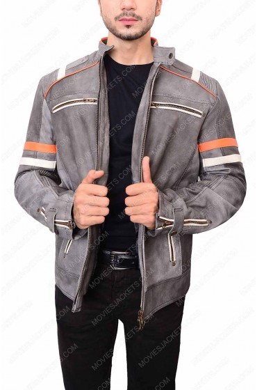 Mens Grey Cafe Racer Waxed Biker Jacket