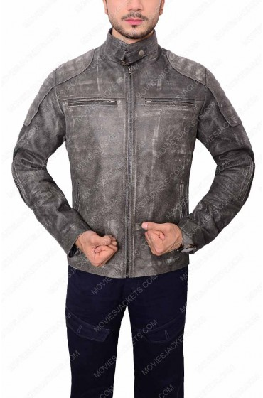 Mens Grey Waxed Biker Jacket