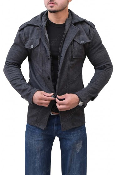 Mens Grey Wool Slim Fit Jacket