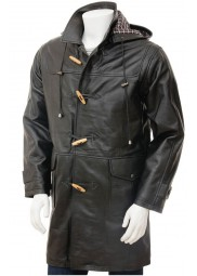 Mens Duffle Black Leather Coat