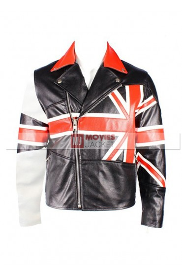 Men's British Flag Leather Motorcycle Jacket