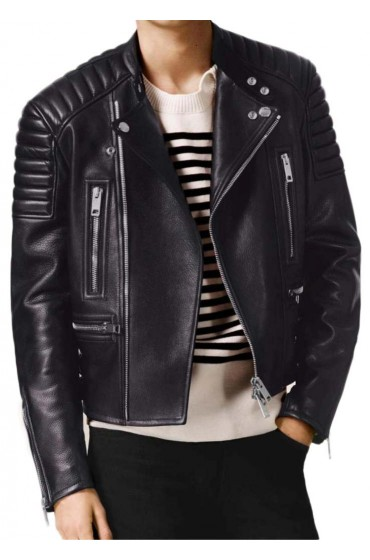 Men's Asymmetrical Zip Black Leather Padded Motorcycle Jacket