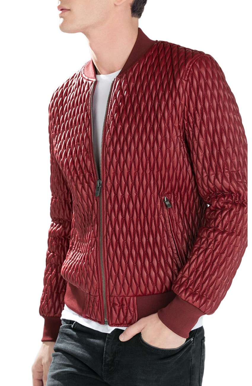 Men S Quilted Red Faux Leather Bomber Jacket
