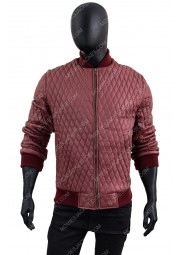 Men's Quilted Red Faux Leather Bomber Jacket