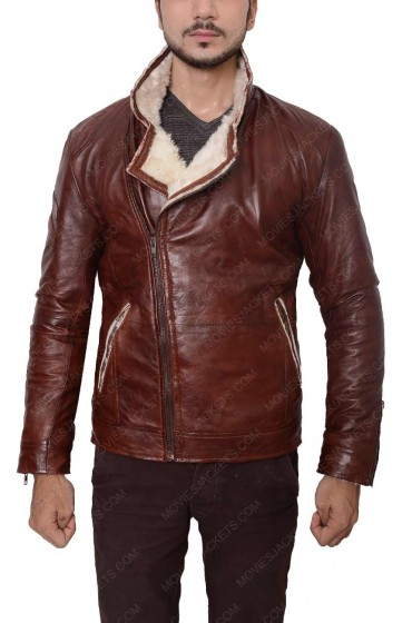 Mens Red Waxed Leather Motorcycle Jacket